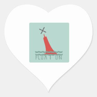 Float On Heart Stickers