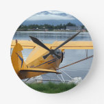 Float plane 6, Lake Hood, Anchorage, Alaska, USA Round Wall Clocks