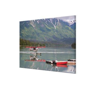 USA Themed Float plane and boat, Trail Lake, Alaska, USA Canvas Print