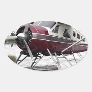 Float plane, Lake Hood, Anchorage, Alaska, USA 16 Oval Sticker