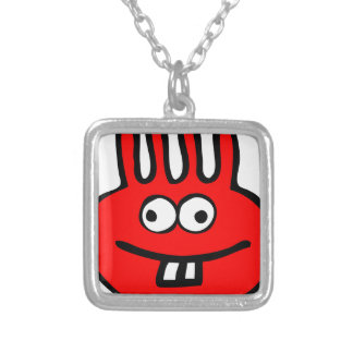 Floatie Monster red Silver Plated Necklace