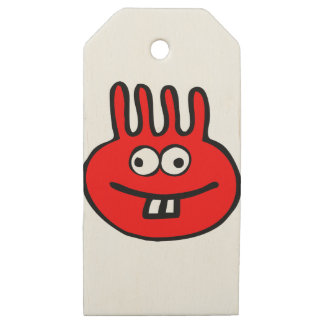 Floatie Monster red Wooden Gift Tags