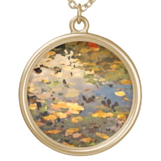 Floating Autumn Leaves Abstract Gold Plated Necklace