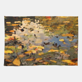 Floating Autumn Leaves Abstract Kitchen Towel