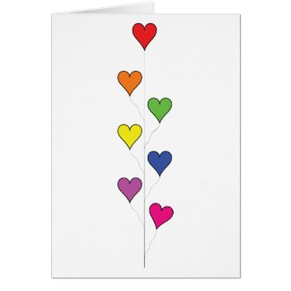 Floating Balloon Hearts on White, Tall - Blank Greeting Card