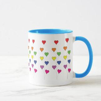 Floating Balloon Hearts on White, Tall - Blank Mug