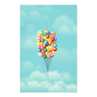 Floating Balloons up and away. Stationery