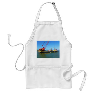 Floating Barge with crane colorful Apron