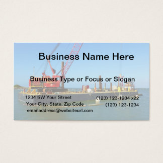 Floating Barge with crane colorful Business Card