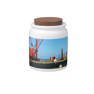 Floating Barge with crane colorful Candy Jar