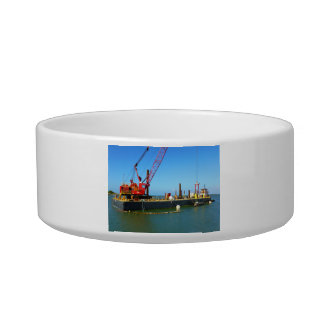 Floating Barge with crane colorful Cat Food Bowl