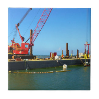 Floating Barge with crane colorful Ceramic Tiles