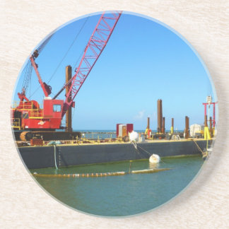 Floating Barge with crane colorful Beverage Coaster
