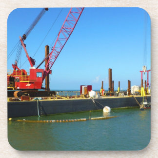 Floating Barge with crane colorful Coasters