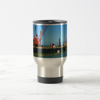 Floating Barge with crane colorful Coffee Mugs
