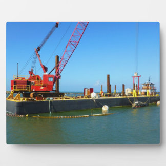 Floating Barge with crane colorful Display Plaque