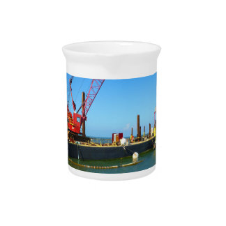 Floating Barge with crane colorful Drink Pitchers