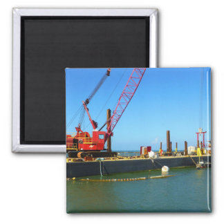 Floating Barge with crane colorful Fridge Magnet