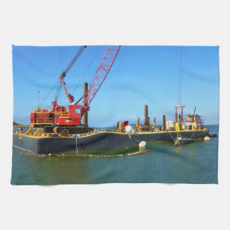 Floating Barge with crane colorful Hand Towel