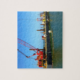 Floating Barge with crane colorful Jigsaw Puzzles