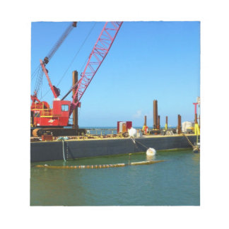 Floating Barge with crane colorful Memo Notepads