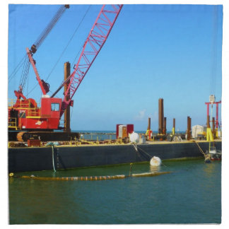 Floating Barge with crane colorful Napkins