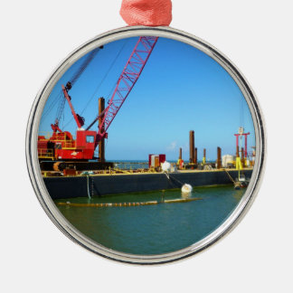 Floating Barge with crane colorful Christmas Tree Ornaments