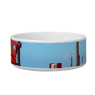 Floating Barge with crane colorful Pet Food Bowl