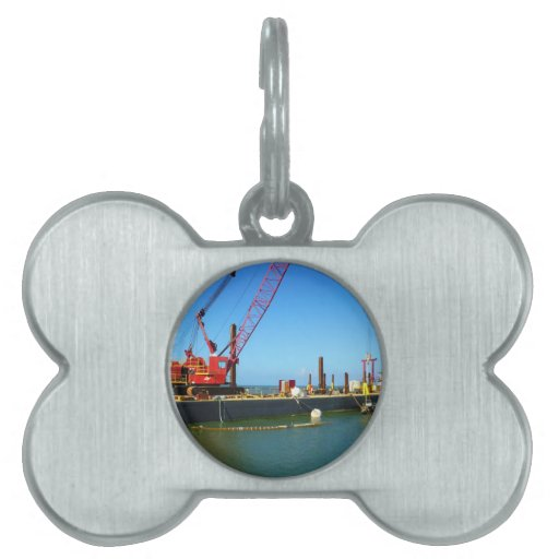 Floating Barge with crane colorful Pet ID Tags