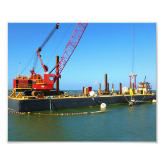Floating Barge with crane colorful Photo Print