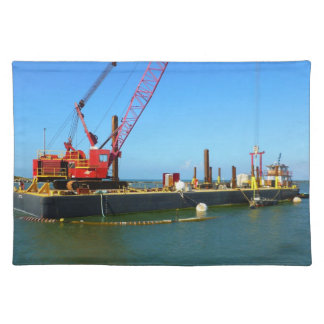 Floating Barge with crane colorful Placemat