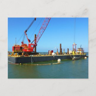 Floating Barge with crane colorful Postcards