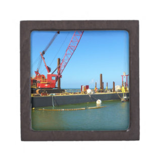 Floating Barge with crane colorful Premium Trinket Boxes