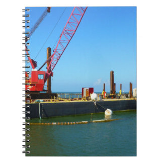 Floating Barge with crane colorful Spiral Notebook