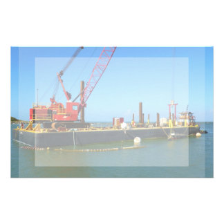 Floating Barge with crane colorful Stationery Design