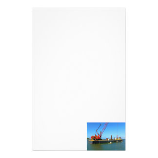 Floating Barge with crane colorful Personalized Stationery