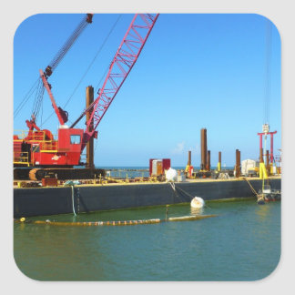 Floating Barge with crane colorful Sticker