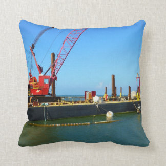 Floating Barge with crane colorful Throw Pillow