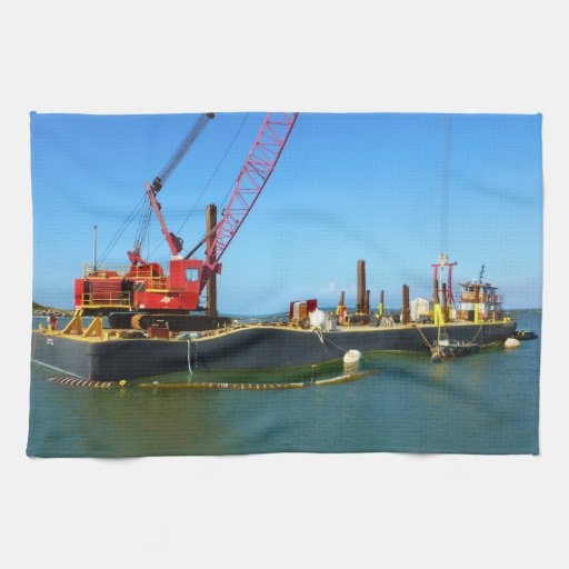 Floating Barge with crane colorful Towel