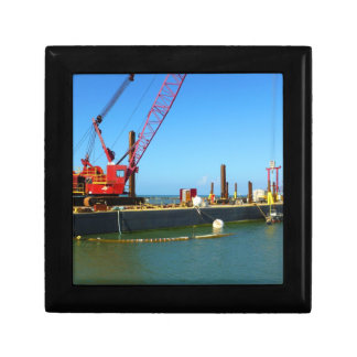 Floating Barge with crane colorful Trinket Box