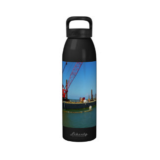 Floating Barge with crane colorful Reusable Water Bottle