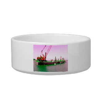 Floating Barge with crane green and purple toned Cat Water Bowls