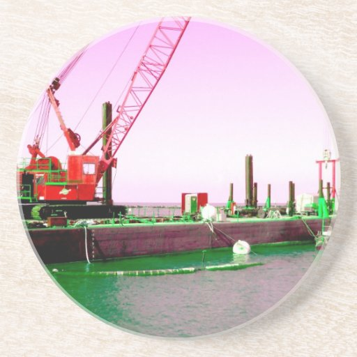 Floating Barge with crane green and purple toned Beverage Coaster