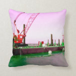 Floating Barge with crane green and purple toned Pillow