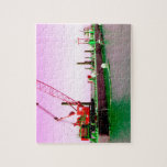 Floating Barge with crane green and purple toned Puzzles