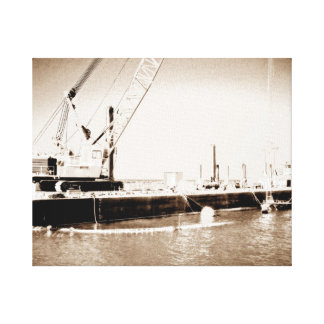 Floating Barge with crane sepia toned Canvas Print