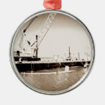 Floating Barge with crane sepia toned Ornament