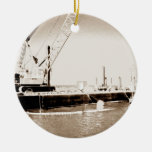 Floating Barge with crane sepia toned Christmas Tree Ornament