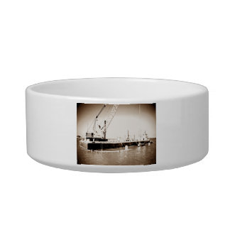 Floating Barge with crane sepia toned Pet Water Bowl