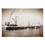 Floating Barge with crane sepia toned Place Mat